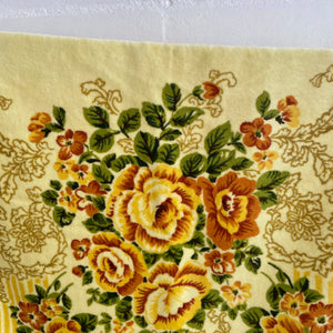 Crochet Edge UNUSED Vintage Yellow Towel FLORAL