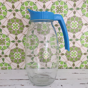 RETRO Bottle Glass Jug With Blue Plastic Lid