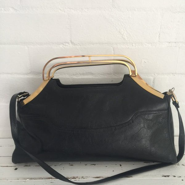 AMAZING Genuine LEATHER Handbag COOL Gold Handles