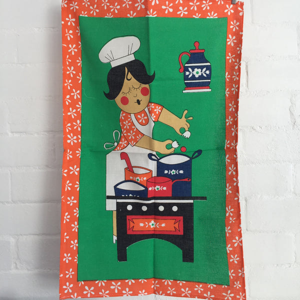 Made in BRAZIL Tea Towel Wall Hanging 100% Cotton Print UNUSED Vintage