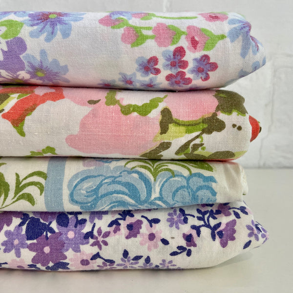 VINTAGE Sheet LOT Stack Floral Cotton Sewing Projects