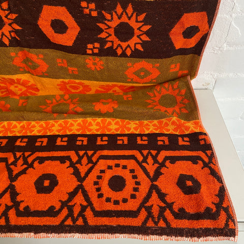 HUGE Vintage UNUSED Orange Retro Towel Jac-Art All Cotton