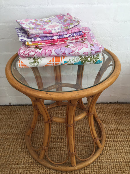Gorgeous Cane Table Vintage Furniture Glass Top LOVE IT!
