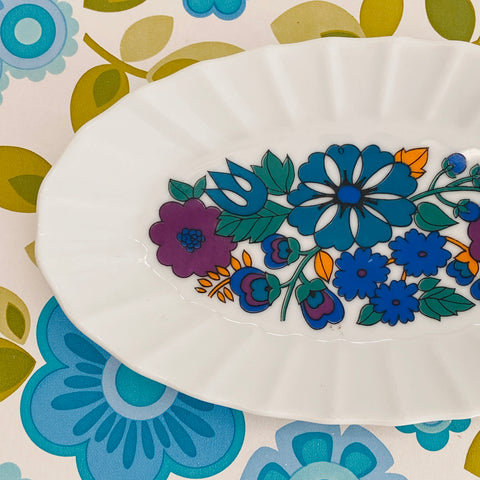 WESTMINSTER Plate ADORABLE Blue Retro Floral