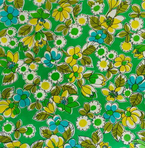 Yummy Vintage Floral Fabric Craft Sewing Love the Green!