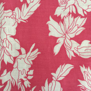 Small Vintage Cotton Sheet Pink Floral Print SEWING Craft