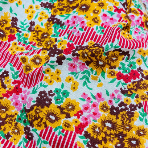 Floral LARGE Vintage Quilt FLORAL 50's Cotton & Satin Fabric