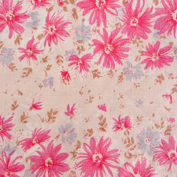 Vintage Cotton Sheet PINK Fabric Sewing Craft