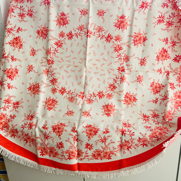 CRISP Unused ROUND All Cotton Table Cloth FLORAL White Fringe
