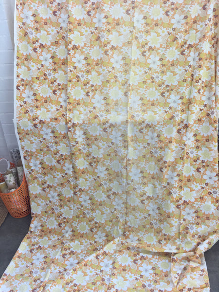 TWO VINTAGE Sheets Orange & Blue Floral Cotton Sewing Craft