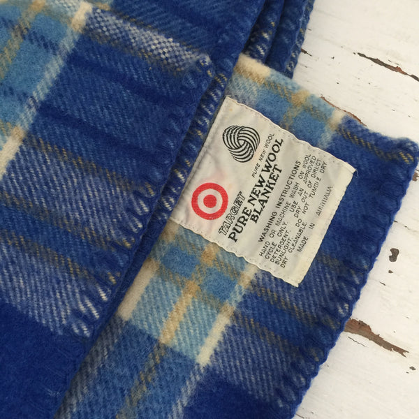 Beautiful BLUE WOOL Blanket Retro Boys Bedroom Caravan Checked
