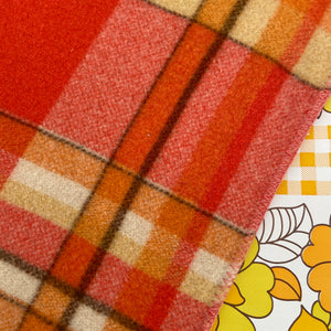 Bright & Beautiful ORANGE Checked Blanket VINTAGE Retro Home
