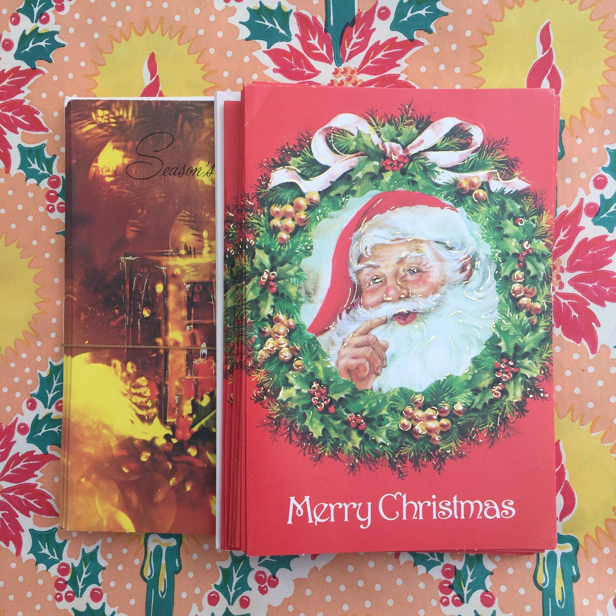 Pack of Vintage Xmas Christmas Cards 70's Retro