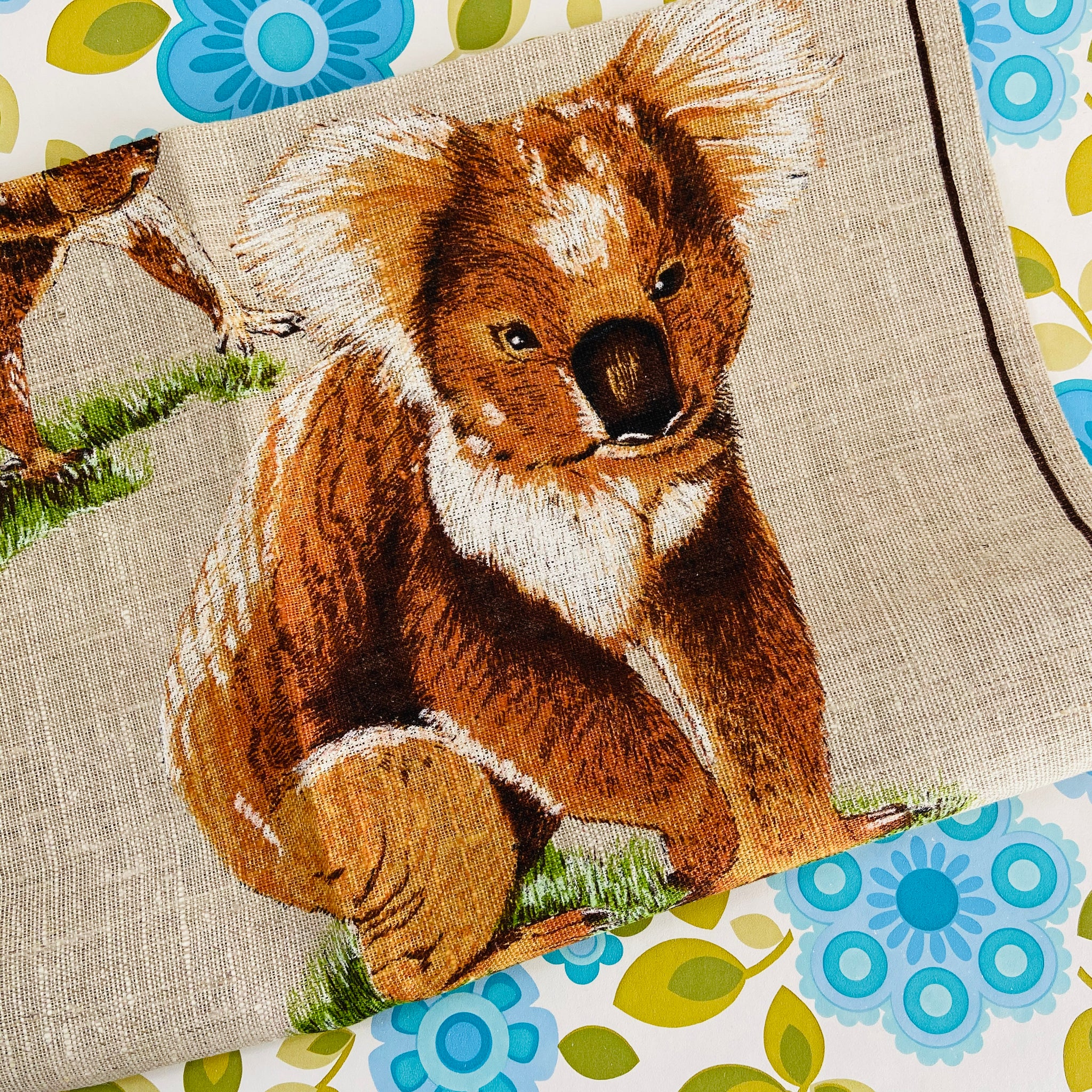 PURE Linen Handprinted Tea towel KOALA Wheatlands Australian
