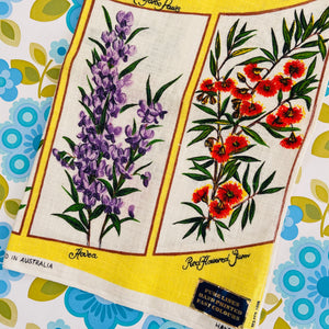 PURE LINEN Hand Printed TEA TOWEL Floral Wildflowers