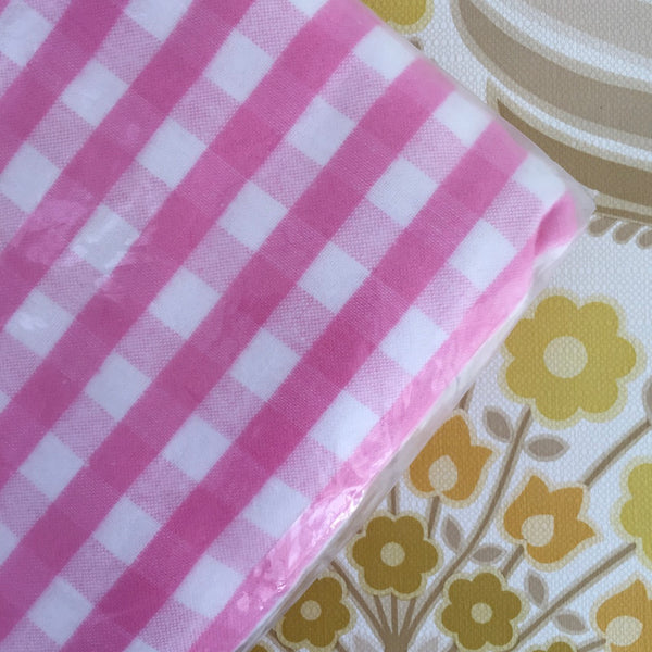 CAMEO Flannelette Sheet All Cotton Single Pink Checked UNUSED Vintage