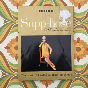 HILTON Boxed Two Pairs All Nylon Seamless Sheer PANTY HOSE VINTAGE 60's
