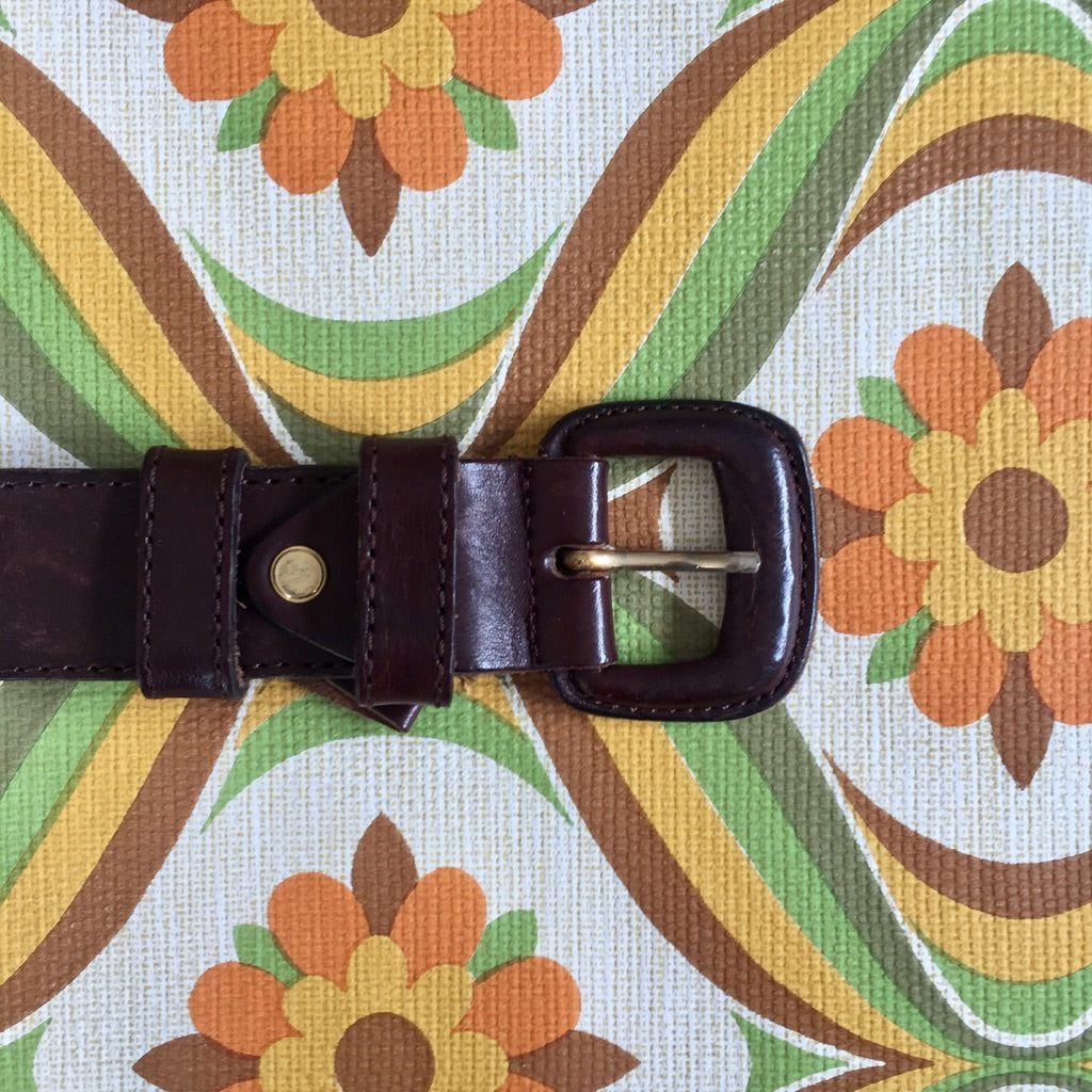 Vintage Brown Belt VERA PELLE Large 92cms - 103cms