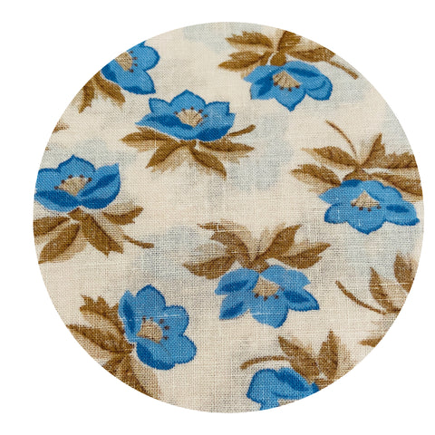 Cute Floral Blue & Beige Cotton Fabric Sewing Lightweight