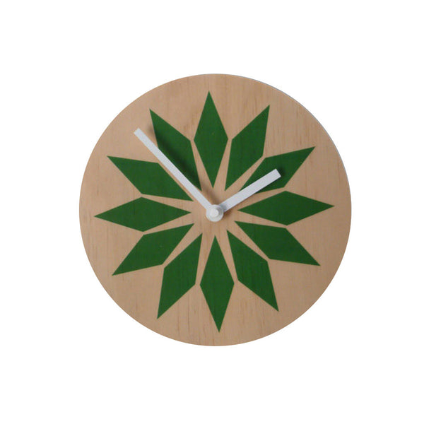 Modern Green Wall Clock Made with Pine - Pink Peacock  - 1