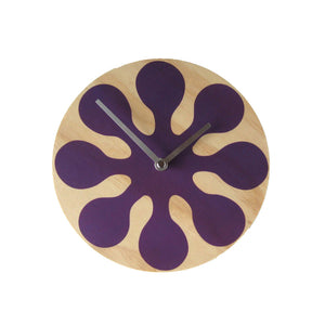 Modern Purple Wall Clock Made with Pine - Pink Peacock  - 1