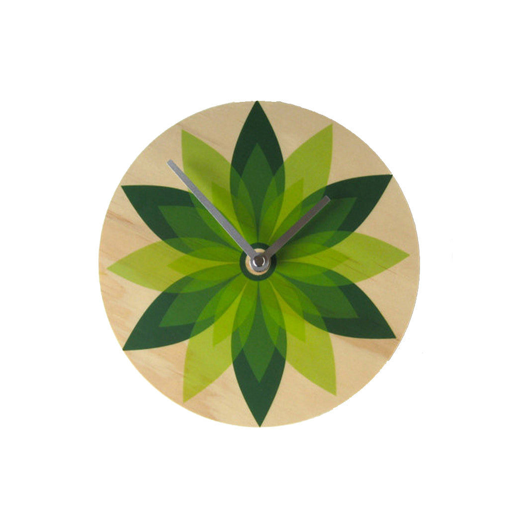 Modern Green Leaf Wall Clock Made with Pine RETRO - Pink Peacock  - 1