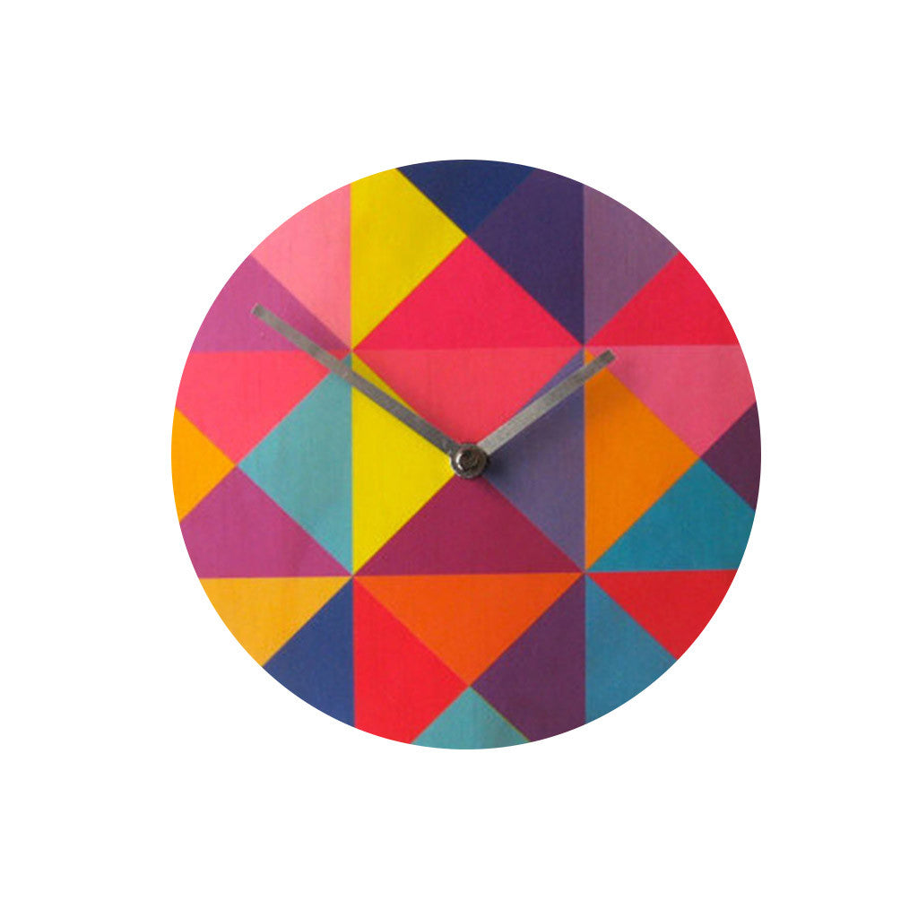 Modern Grid Wall Clock Made with Pine - Pink Peacock  - 1