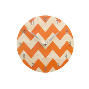 Orange Chevron Wall Clock Made with Pine - Pink Peacock  - 1