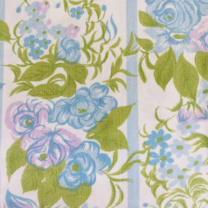VINTAGE Cotton SHEET Fabric FLORAL BLUE CRAFT 70's RETRO Sewing X 1