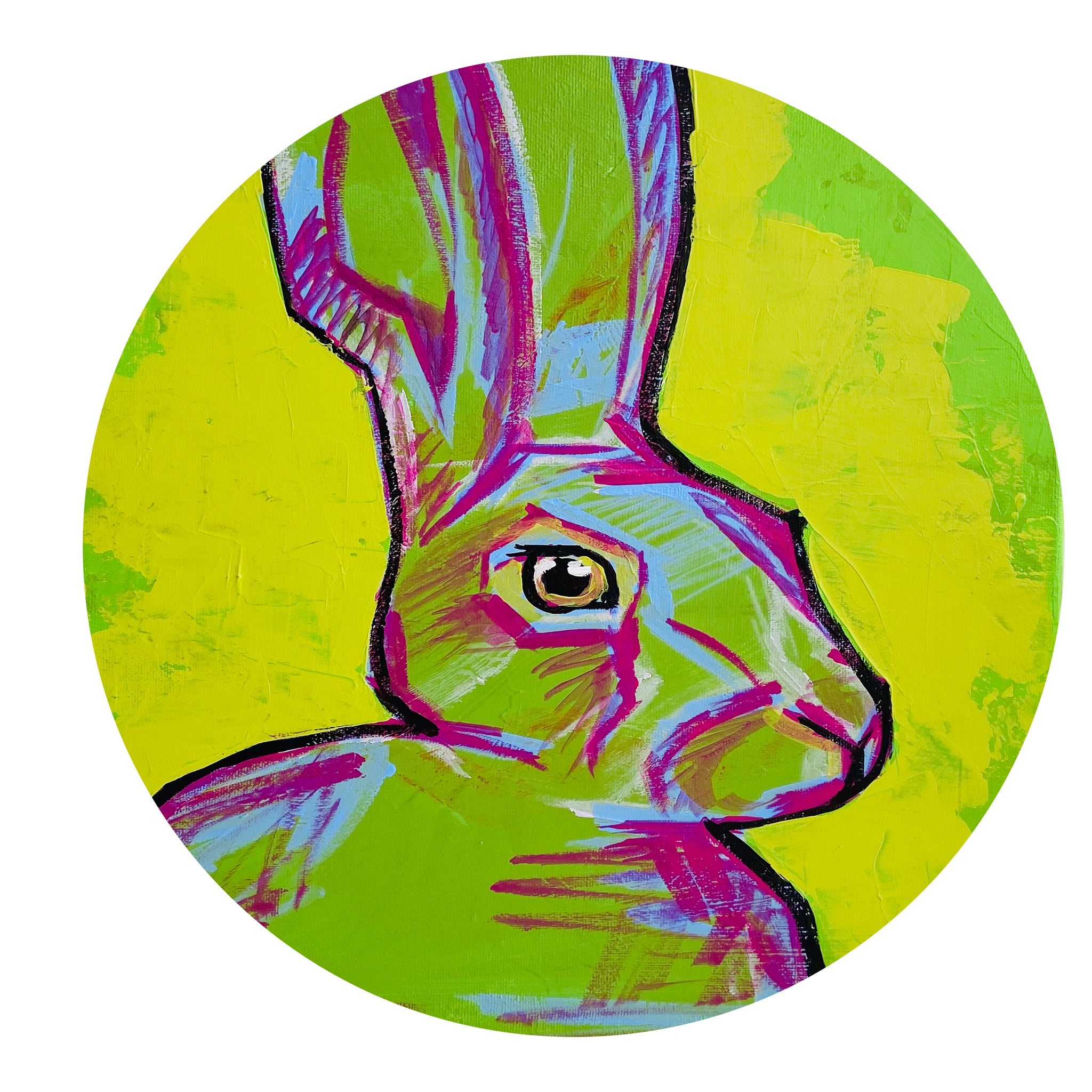 Green ORIGINAL ONE OF A KIND Painting on High Quality Thick Canvas RABBIT