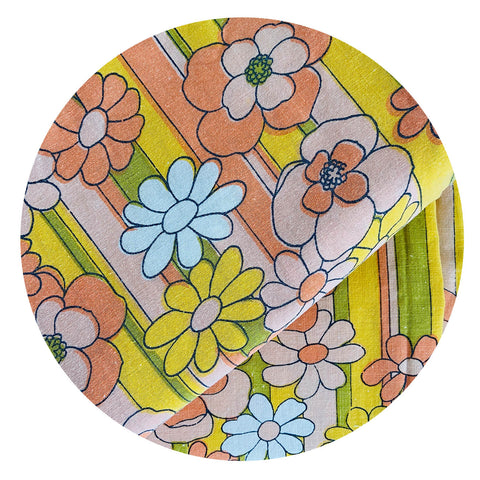 Beautiful Vintage Cotton Sheet Fabric BRIGHT Retro