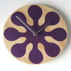 Modern Purple Wall Clock Made with Pine - Pink Peacock  - 2