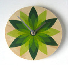Modern Green Leaf Wall Clock Made with Pine RETRO - Pink Peacock  - 2