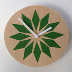 Modern Green Wall Clock Made with Pine - Pink Peacock  - 2