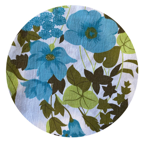 FULL Cotton Sheet Blue Floral Craft Sewing Vintage