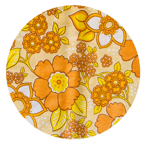 FAT QUARTER Unused Retro Floral 70's Sheet FABRIC All Cotton ORANGE