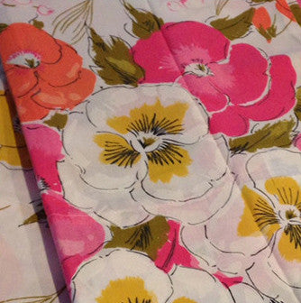 A Pair of VINTAGE Sweet Bright Floral Pillow Cases Cotton - NEW Label - Pink Peacock  - 1
