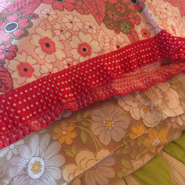 Brand New Vintage Floral Little Girls Pillow Case with Red Polka Dot Trim - Pink Peacock  - 1
