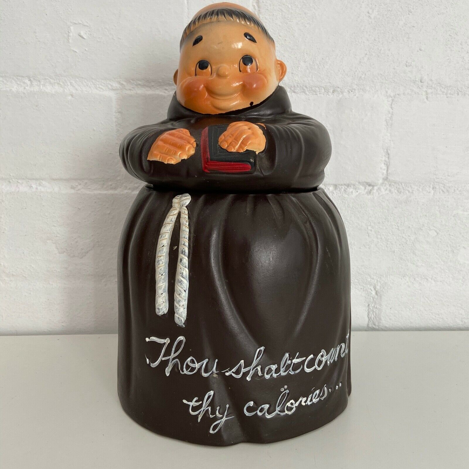 VINTAGE FRIAR TUCK Thou Shalt Count Thy Calories COOKIE JAR JAPAN