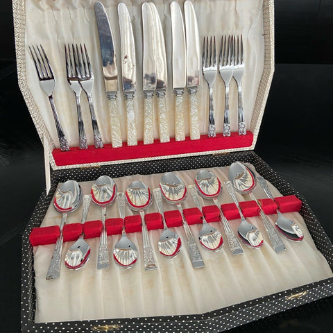 Vintage Silchrome Sheffield MOTHER of PEARL Cutlery Set AS IS Unused