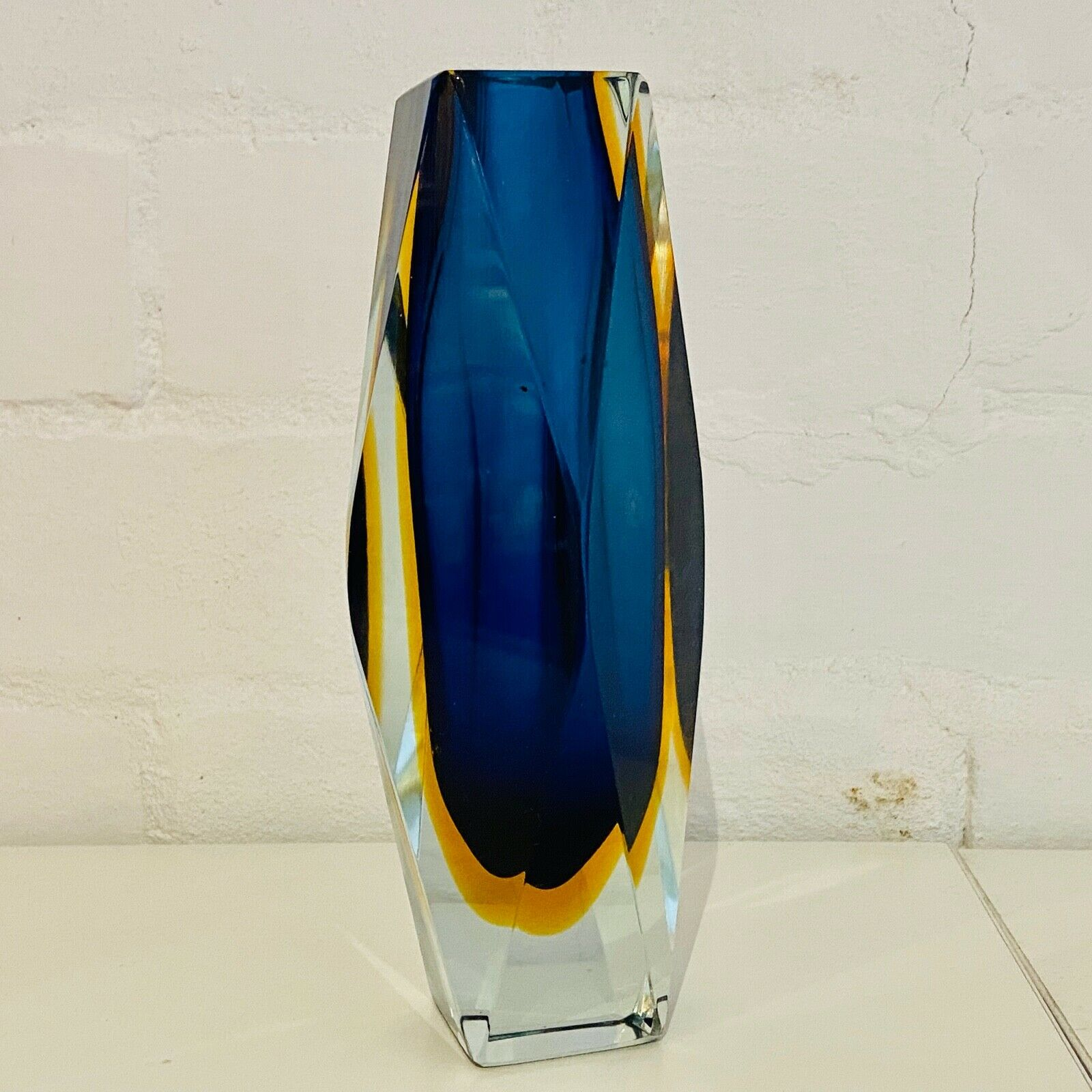 Mid Century Faceted Murano Glass Vase-Circa 1960's
