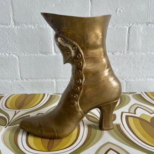 BRASS Planter Shoe Kitsch Pot Display VINTAGE Home Heel