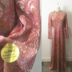 GENUINE LUREX 50's Dress LEON HASKIN with ORIGINAL TAG Unworn VINTAGE Fab Retro