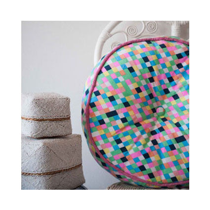 HUGE Floor Cushion Kids Room Round KALEIDOSCOPE of Colour Cushion - Pink Peacock  - 2