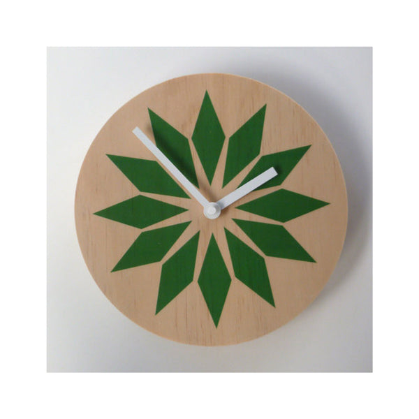 Modern Green Wall Clock Made with Pine - Pink Peacock  - 3