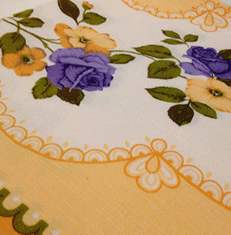 DIVINE Yellow & Purple Flower Vintage Table Cloth - Pink Peacock  - 1