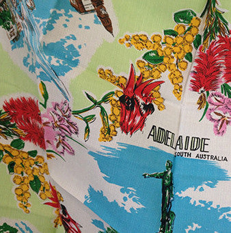 Cool Old Adelaide Linen Table Cloth Vintage - Pink Peacock  - 1