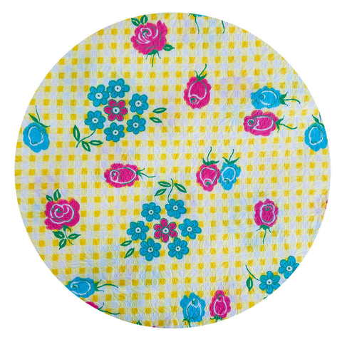 UNIQUE Yellow Floral Fabric Vintage floral PRINT Adorable