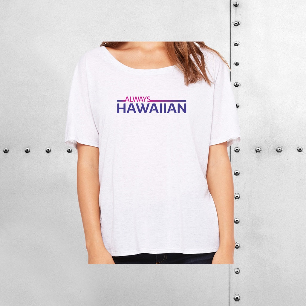 LADIES WHITE FLECK ALWAYS HAWAIIAN SCOOP TEE
