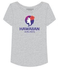 HAWAIIAN AIRLINES LADIES SOFT TOUCH PUALANI TEE - BREEZE GRAY (NEW)
